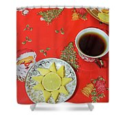 On The Eve Of Christmas. Tea Drinking With Cheese. Shower Curtain