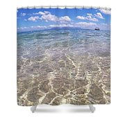 On The Horizon Shower Curtain by Debbie Cundy
