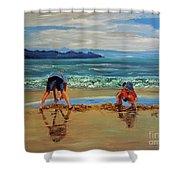 On The Seashore Of Endless Worlds Children Meet  Shower Curtain