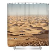 One 4x4 Vehicle Off-roading In The Red Sand Dunes Of Dubai Emirates, United Arab Emirates Shower Curtain