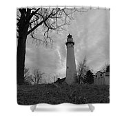 Overcast Lighthouse Shower Curtain