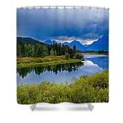 Oxbow Bend Storm Clouds Shower Curtain
