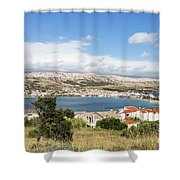 Pag Old Town In Croatia Shower Curtain