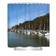 Painting Bay Side Harbor Shower Curtain