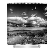 Panorama Of A Valley In Utah Desert With Blue Sky Shower Curtain