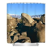 Panoramic Image Of Petroglyphs At Three Shower Curtain