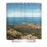 Panoramic View Across Calvi Bay And Revellata In Corsica Shower Curtain