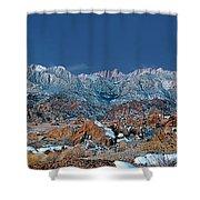 Panoramic Winter Morning Alabama Hills Eastern Sierras California Shower Curtain