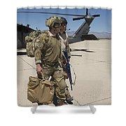Pararescuemen Walks Away From A Hh-60g Shower Curtain