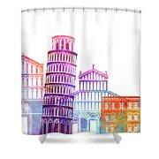 Barcelona Landmarks Watercolor Poster Shower Curtain