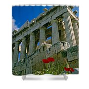Parthenon With Poppies Shower Curtain