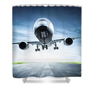 Passenger Airplane Taking Off On Runway Shower Curtain