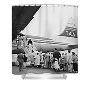 Passengers Boarding Airplane Shower Curtain