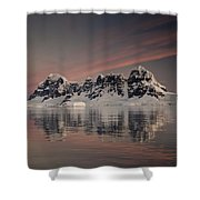 Peaks At Sunset Wiencke Island Shower Curtain by Colin Monteath