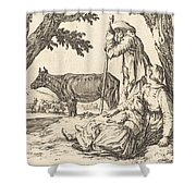 Peasant Couple With Cow Shower Curtain