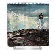 Peggy's Cove Lighthouse Hurricane Shower Curtain