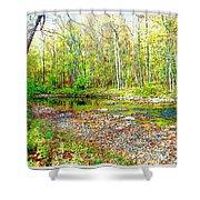 Pennsylvania Stream In Autumn, Digital Art Shower Curtain