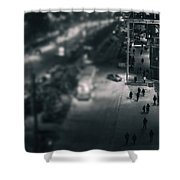 People At Night From Arerial View Shower Curtain