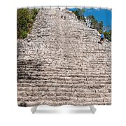 People Climbing Nohoch Mul At The Coba Ruins  Shower Curtain