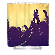 People With Hands Up In Night Club Shower Curtain