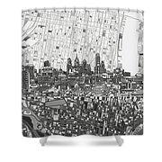 Philadelphia Skyline Map 4 Shower Curtain