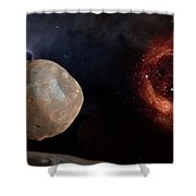 Phobos In The Space Over Mars Shower Curtain