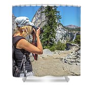 Photographer In Yosemite Waterfalls Shower Curtain