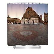 Piazza Maggiore And San Petronio Basilica In The Morning, Bologna, Emilia-romanga, Italy Shower Curtain