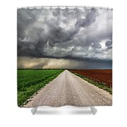 Pick A Side - Colorful Fields Divided By Road On Stormy Day In Oklahoma. Shower Curtain
