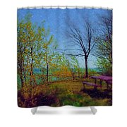 Picnic Table By The Lake Shower Curtain