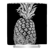 Pineapple Isolated On Black Shower Curtain