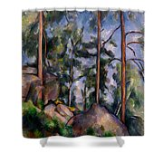 Pines And Rocks Shower Curtain