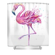 Pink Flamingo Watercolor Shower Curtain