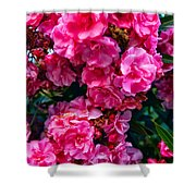 Pink Flowers Green Leaves Shower Curtain