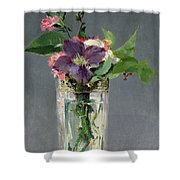 Pinks And Clematis In A Crystal Vase Shower Curtain