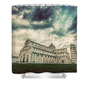 Pisa Cathedral With The Leaning Tower Of Pisa, Tuscany, Italy. Vintage Shower Curtain