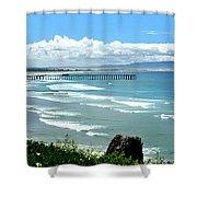 Pismo Beach Pier Panorama Shower Curtain