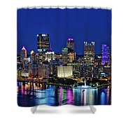 Pittsburgh Night Skyline Shower Curtain