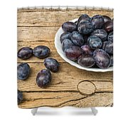 Plate Full Of Fresh Plums On A Wooden Background Shower Curtain