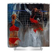 Playing Volley Shower Curtain