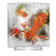 Pokemon Fearow Abstract Portrait - By Diana Van   Shower Curtain