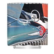 1933 Pontiac Eight Hood Ornament Shower Curtain