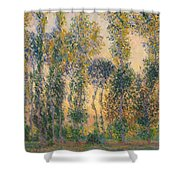 Poplars At Giverny, Sunrise Shower Curtain