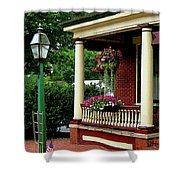 Porch With Hanging Plants Shower Curtain