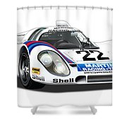 Porsche 917 Illustration Shower Curtain