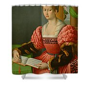 Portrait Of A Woman With A Book Of Music Shower Curtain