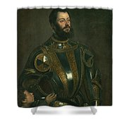 Portrait Of Alfonso D'avalos Marquis Of Vasto In Armor With A Page Shower Curtain