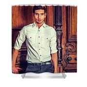 Portrait Of Young Businessman. Shower Curtain