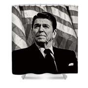 President Ronald Reagan Speaking - 1982 Shower Curtain