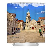 Prvic Sepurine Stone Architecture View Shower Curtain